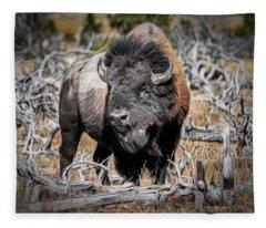 Eye Of The Buffalo Fleece Blanket