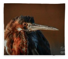 Eye To Eye With Heron Fleece Blanket