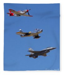 F-16 P-51d F-86 Heritage Flight- Flyby Fleece Blanket