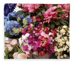 Fabric Flowers Fleece Blanket