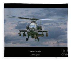 Face Of Death Ah-64 Apache Helicopter Fleece Blanket