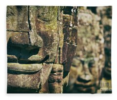 Faces Of Bayon Temple In Angkor Thom, Angkor Wat Temple Complex, Cambodia Fleece Blanket