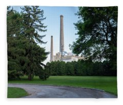 Factory Next To A Park With Smoke Stacks In Sheboygan Wisconsin Fleece Blanket