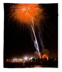 Fireworks As Seen From The Ventura California Pier Fleece Blanket