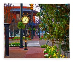 Fairhope Ave With Clock Down Section Street Fleece Blanket