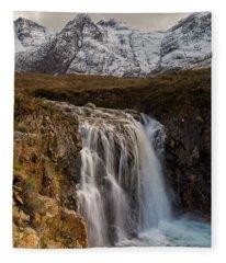 Fairy Pools Waterfall, Isle Of Skye Fleece Blanket