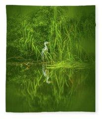 Fairy Tale Heron #g5 Fleece Blanket