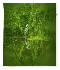 Fairy Tale Heron #g5 Fleece Blanket