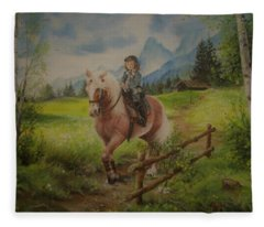 Fairy Tale In The Alps Fleece Blanket