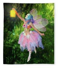 Fairy With Light Fleece Blanket
