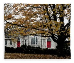 Fall At Church Fleece Blanket