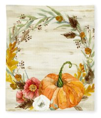 Fall Autumn Harvest Wreath On Birch Bark Watercolor Fleece Blanket