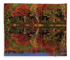 Fall Color Reflected In Thornton Lake Michigan Fleece Blanket