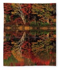 Fall Colored Trees Thornton Lake Upper Peninsula Michigan Fleece Blanket