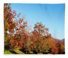 Fall Foliage And Mountains Fleece Blanket