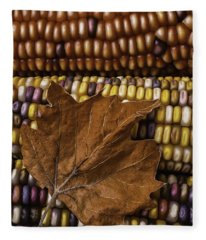 Fall Leaf And Indian Corn Fleece Blanket