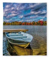 Fall On Alloway Lake Fleece Blanket