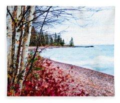 Fall On Lake Superior Fleece Blanket