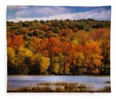 Fall On Springfield Lake Fleece Blanket