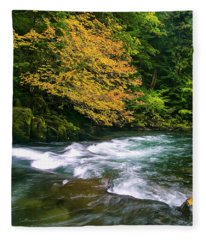 Fall On The Clackamas River, Or Fleece Blanket