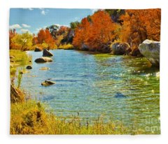Fall On The Medina River Fleece Blanket