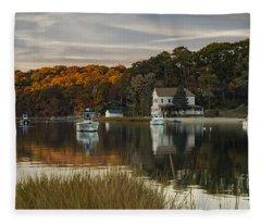 Fall Sunset In Centerport  Fleece Blanket