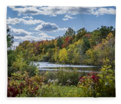Fall Time On The Lake Fleece Blanket
