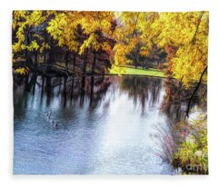 Fall Yellow Boarder Fleece Blanket