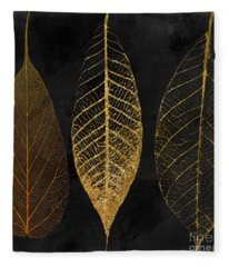 Fallen Gold II Autumn Leaves Fleece Blanket
