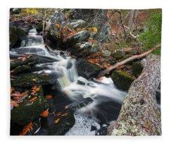 Fallen In Danforth Falls Fleece Blanket
