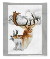Fleece Blanket featuring the mixed media Fallow Deer by Barbara Keith