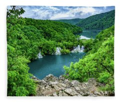 Falls From Above - Plitvice Lakes National Park, Croatia Fleece Blanket