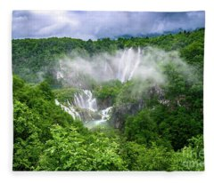 Falls Through The Fog - Plitvice Lakes National Park Croatia Fleece Blanket