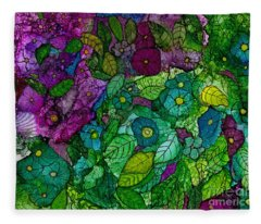 Fantasy Zen Flowers In Alcohol Ink Fleece Blanket