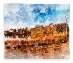 Farm Fall Colors Watercolor Fleece Blanket