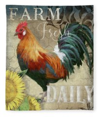 Farm Fresh Red Rooster Sunflower Rustic Country Fleece Blanket
