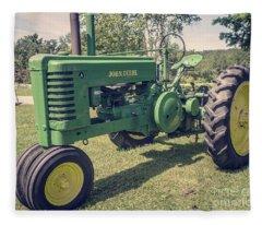 Farm Green Tractor Vintage Style Fleece Blanket
