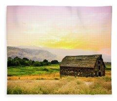 Twilight At The Okanagan Farm House Canada Fleece Blanket