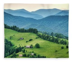 Farm In The Mountains - Romania Fleece Blanket
