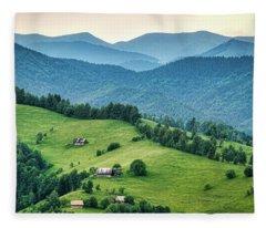 Farm In The Mountains - Romania Fleece Blanket