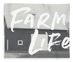 Farm Life Barn- Art By Linda Woods Fleece Blanket