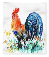 Farm Rooster Fleece Blanket