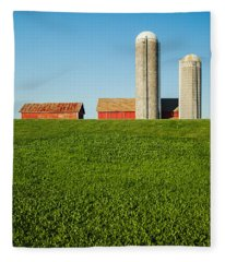 Farm Silos And Shed On Green And Against Blue Fleece Blanket