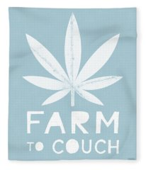 Farm To Couch Blue- Cannabis Art By Linda Woods Fleece Blanket