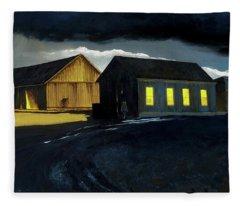 Farm Yard With Moonlight And Rain Fleece Blanket