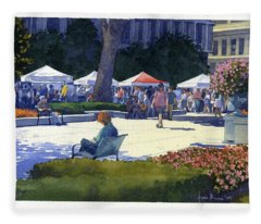 Farmers Market, Madison Fleece Blanket