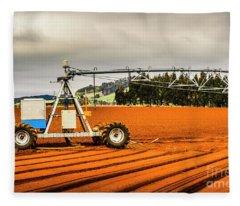 Farming Field Equipment Fleece Blanket