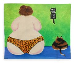 Fat Cats Fleece Blanket