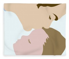 Father Kissing Sleeping Young Child Fleece Blanket