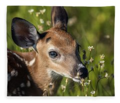 Fawn In Wildflowers Fleece Blanket